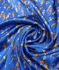 Синий итальянский шелк с принтом