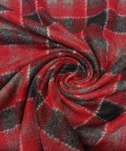 Двухсторонний трикотаж в красную клетку