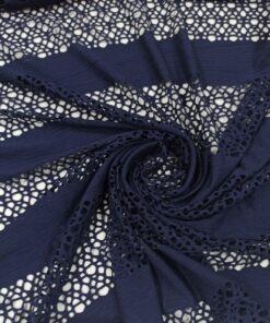 Темно синий ажурный трикотаж