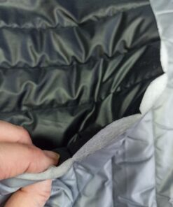 Купить стеганную курточную ткань двухстороннюю черно-серую в Москве