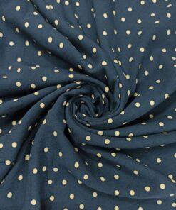 Штапельная вискоза в горошек темно-синего цвета