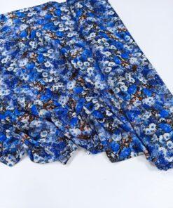 Синяя штапельная вискоза с цветами