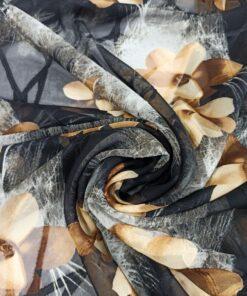 Черный жаккардовый крепдешин с цветами