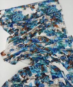 Штапельная вискоза белый фон синие цвета